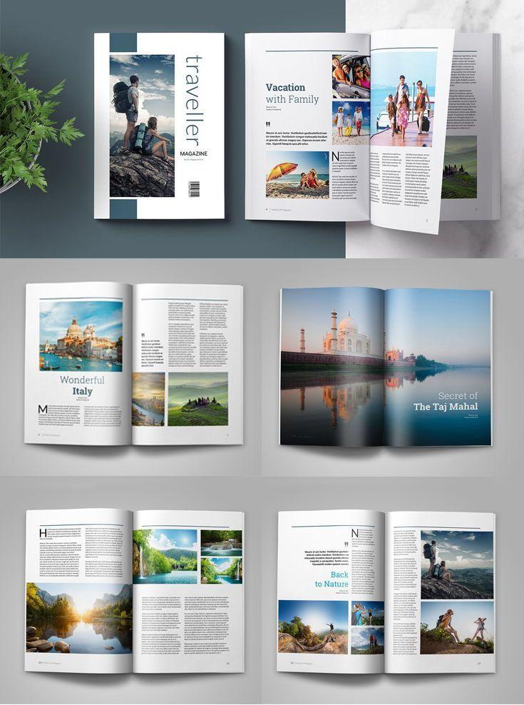 Traveller Magazine Multipurpose Template Adobe Indesign A4 Us Letter Simp Rezepte Blog Layout Design Zeitschriften Layouts Magazin Design