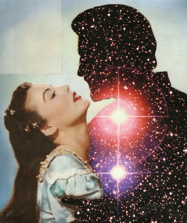 Antares & Love IV - Joe Webb mixed media collage. I love that one square of sky that's a different shade of blue