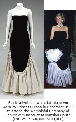 Designed by Murray Arbeid, this black velvet bodice and bolero jacket with white taffeta skirt was worn by Diana, Princess of Wales to a fund raising event to save Britain's Wheelchair Olympics. The dress raised $ 24,150 for Diana's charities at the Christie's auction.