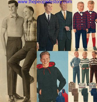 Bold plaids and slim trousers were popular for boys in 1963. Pullover hooded tops became a popular athletic look as well as striped and checked pullovers for casual wear