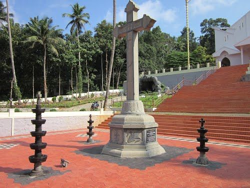 A stone cross in St. Pius Monastery at Amanakara Ramapuram, Kottayam, Kerala, India.