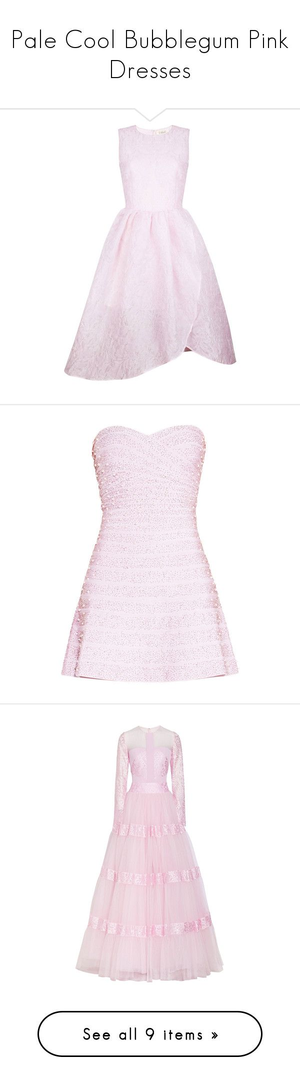 """Pale Cool Bubblegum Pink Dresses"" by tegan-b-riley on Polyvore featuring dresses, abiti, pink cocktail dress, pink sparkly dress, pink dress, full midi skirts, sparkly dresses, herve leger, pearl dress and pink strapless dress"