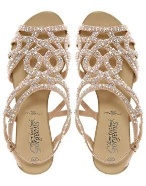 Imagen 4 De Sandalia Plana Con Borde Strass Fabulous New Look Summer Wedding
