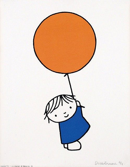 Poster by Dick Bruna - orange balloon