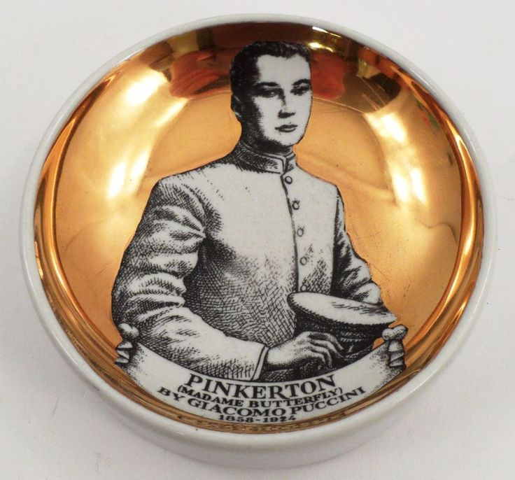 HTF Mid Century Fornasetti Puccini Madame Butterfly Pinkerton Pin Trinket Dish #MidCenturyModern #Fornasetti