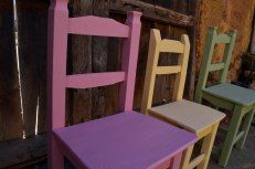 banquetas colores con chalk paint