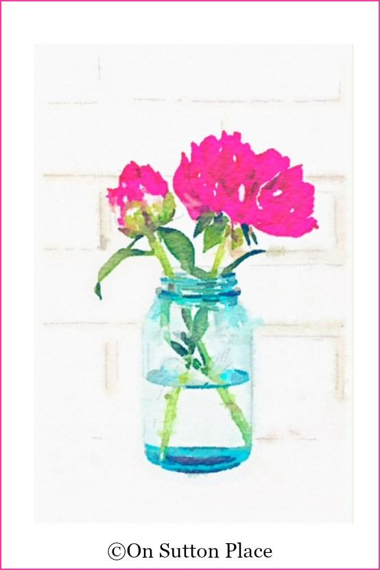 Peony Watercolor Printables | Pink peonies in blue mason jar | use for DIY wall art, screensavers, cards, crafts and more!