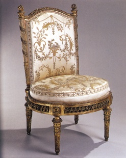 Chair from the Pavillon du Rocher,  Petit Trianon, gilded beech The Petit Trianon at Versailles was the Queen's personal retreat from the demands of the court. There, she could relax with her ladies and her children and indulge their passion for theatricals. In 1780, François Foliot made eight armchairs and eight side chairs, designed by Jacques Gondoin, for the Pavillon du Rocher. This was one of Foliot's last commissions before being replaced in the Queen's favor by Georges Jacob. It is…