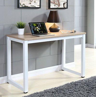 Wooden Computer Table Office Writing Study Modern Design Desk Home Metal Legs