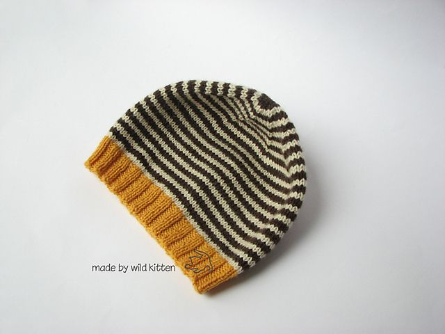 Wolfie Adult hat pattern by wild kitten (knitting, beanie, toque, stripes) (free pattern)