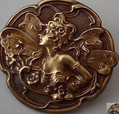 Art Nouveau Copper Button