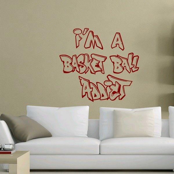 """Le sticker """"I am a basket ball addict""""  Disponible sur www.artandstick.be"""