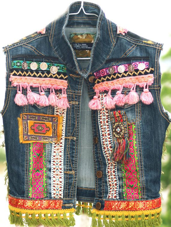 Vintage upcycled bohemian denim jeans jacket vest Indian