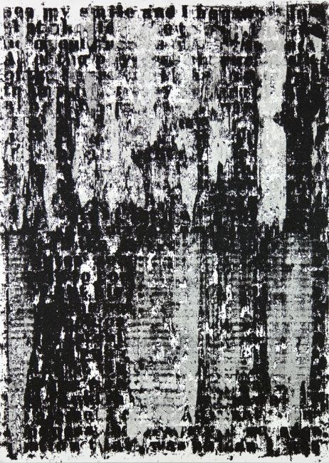 Glenn Ligon, Mirror #7, 2006, Acrylic, coal dust, silkscreen, gesso and oil stick on canvas, 84 x 60 in.