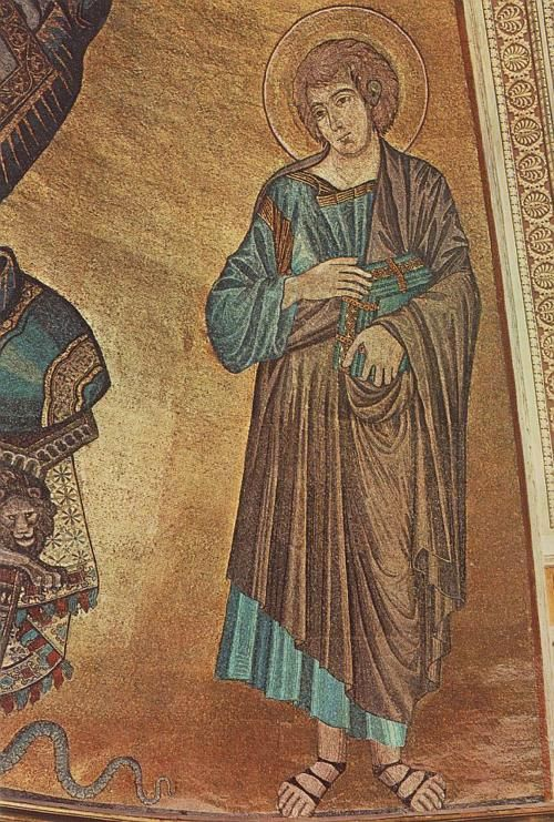 Cimabue (Bencivieni di Pepo) ~ Christ Enthroned Between The Virgin and St. John the Evangelist (detail), c.1301-02 (Duomo, Pisa)