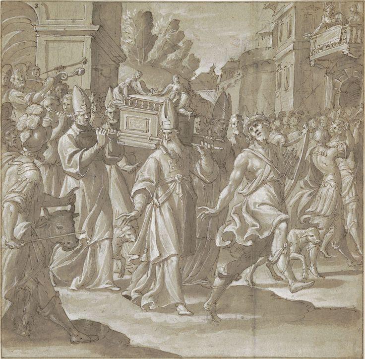 Caduta di Gerico - Giovanni Mauro Della Rovere - penna, inchiostro e biacca su carta verdastra - Firenze, Gabinetto e Stampe degli Uffizi