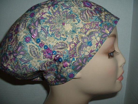Princess Jacobean Bling Beads Euro European OR Surgical Scrub Hat Chemo