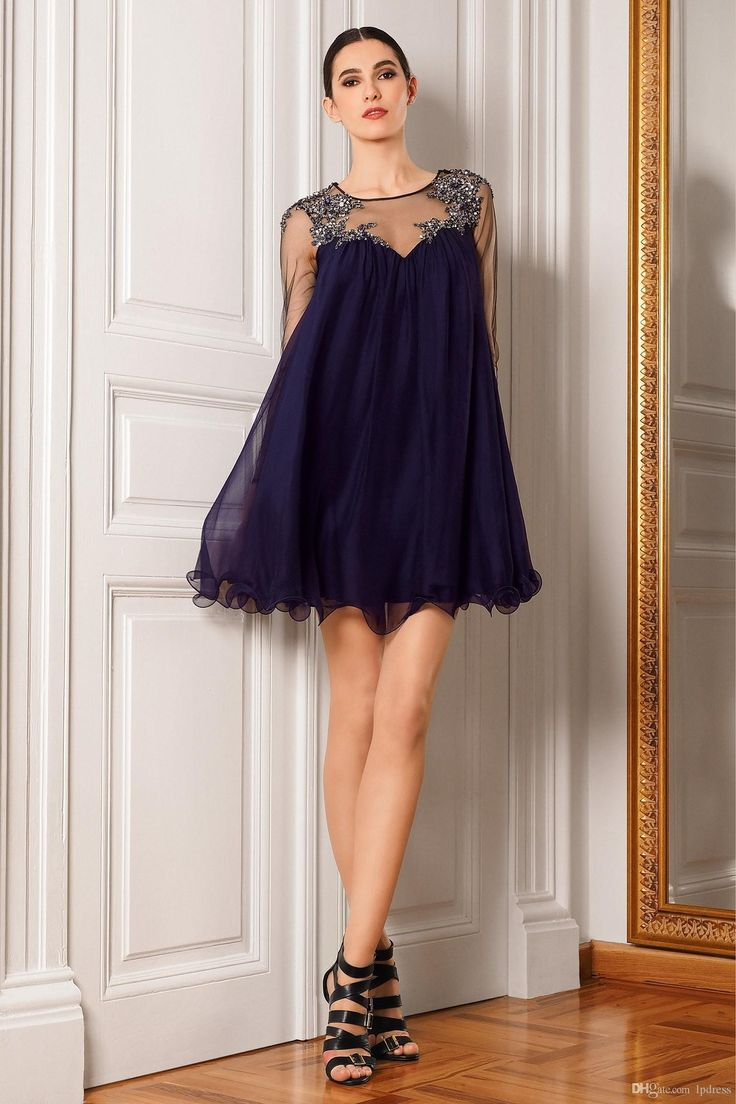 free shipping, $94.18/piece:buy wholesale  sexy navy blue cocktail dresses illusion full sleeve short party dresses pleats chiffon sheer with applique sequins cocktail gowns 2016 fall winter,reference images,chiffon on lpdress's Store from DHgate.com, get worldwide delivery and buyer protection service.