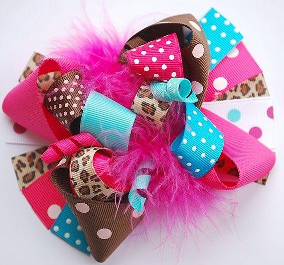 boutique FUNKY fun beautifully BOLD CHEETAH hair bow by andjane, $12.99