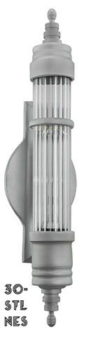 """30"""" Large Art Deco Streamline Tubular LED Sconce (30-LRG-LED)   This lighting source is a specially designed LED fixture using a 2 foot LED tube with T-8 holders.Yes, the tube is a """"contrax"""" tube which means it has deco scalloped lines for it's design.  A very effective deco motif and very hard to get nowadays."""