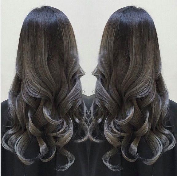Black to Silver Gray #blackombre #silverombre