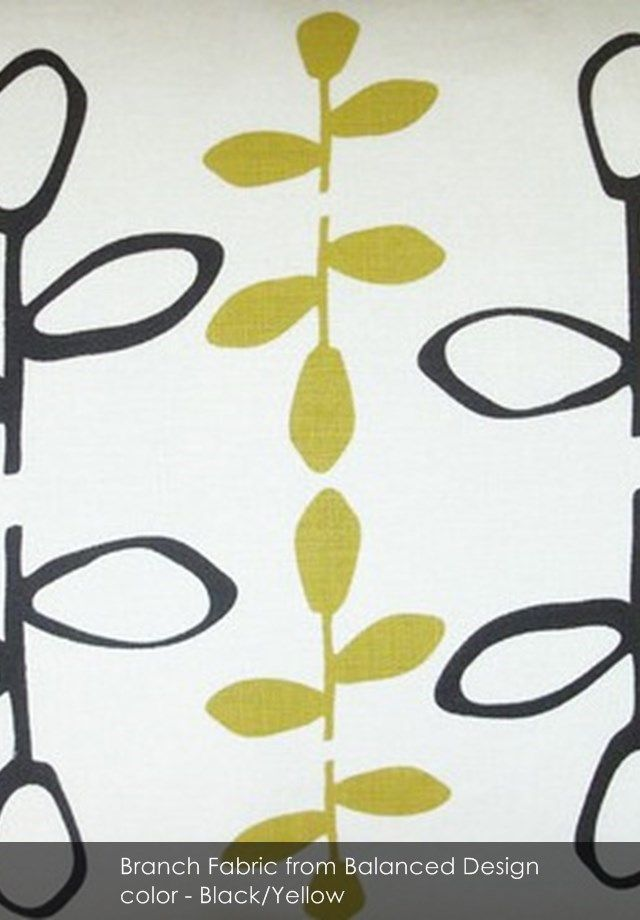 Branch fabric from Balanced Design in Black/Yellow