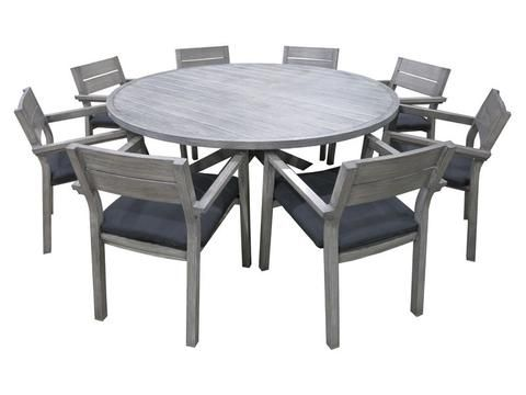 Outdoor Furniture -  Byron 9pc Round Dining Set