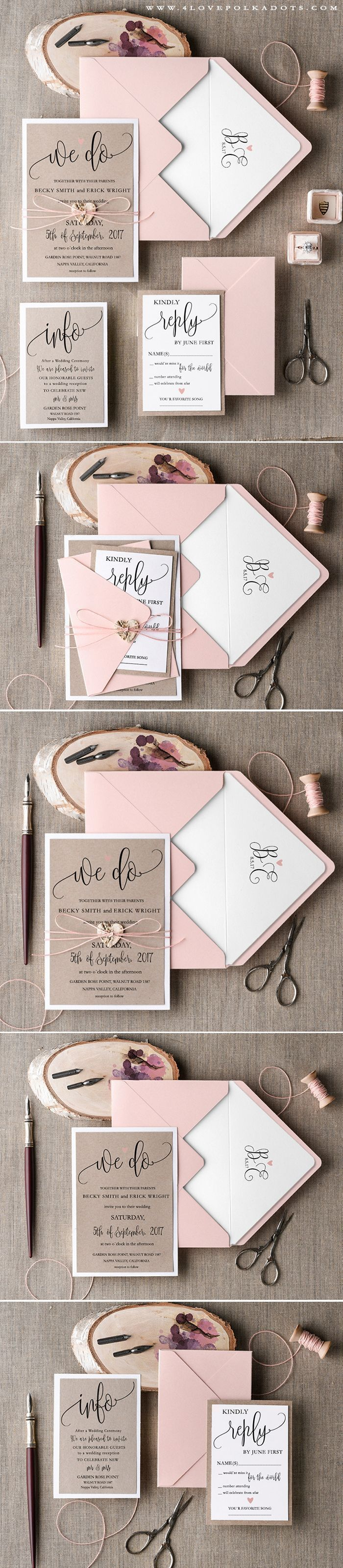 Pink & Eco Handmade Wedding Invitation #summerwedding #weddinginvitations