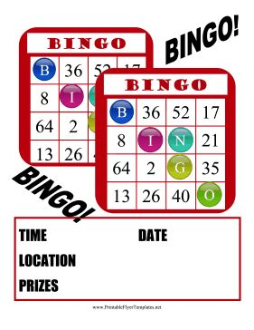 Red Bingo Cards Make Up This Fun Event Flyer For Schools And Clubs Free To