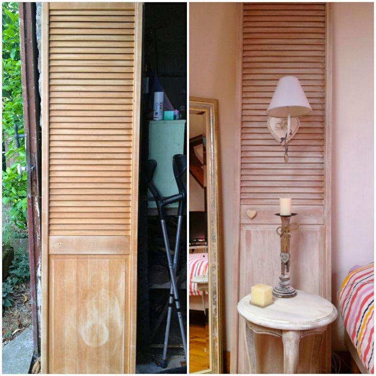 Transformer une vieille porte en tête de lit avec applique. Turn an old door into a headboard with light.