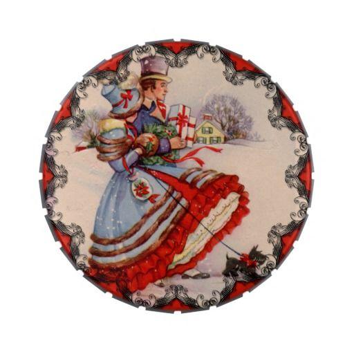 Lata del caramelo del navidad que hace compras pas jarrones de dulces