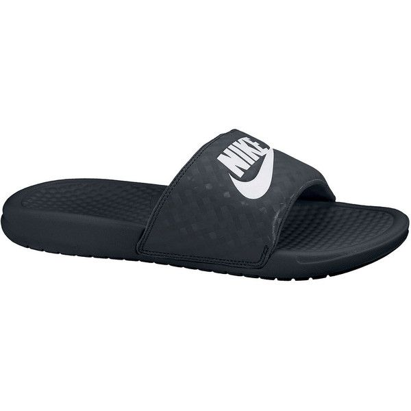 Nike Benassi JDI Womens Athletic Sandals ($20) ❤ liked on Polyvore featuring shoes, sandals, rubber sandals, synthetic shoes, slip on sandals, nike shoes and rubber shoes