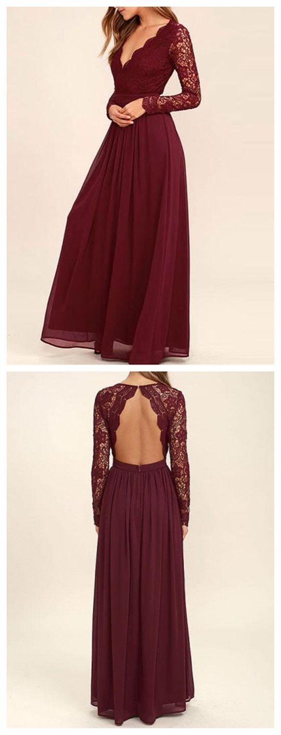 Floor-length long Lace Sleeve Open Back Chiffon wedding party Bridesmaid Dresses, BD0458 2