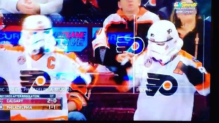 Made it on TV again! #flyersstormtroopers #FlyersHockey #FlyersFans #LetsGoFlyers #PhiladelphiaFlyers #FlyersStormtrooper #Stormtroopers #HockeyFans #NHL #StarWars #StarWarsAndHockey #StarWarsHockey #FlyersEmpire #FlyersNation