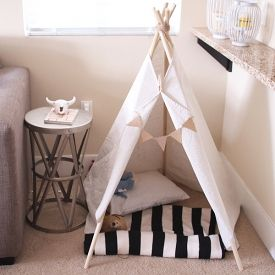 Because, why not a teepee for your dog, right? Learn how to make this simple and easy teepee!