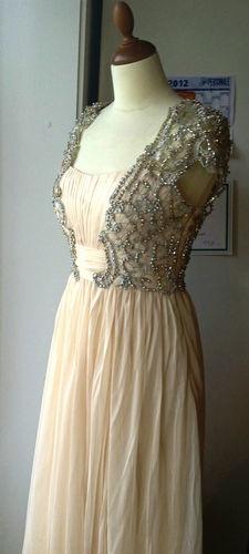 Prom dress - empire - champagne - chiffon - flowy - long - elegant evening gown | eBay