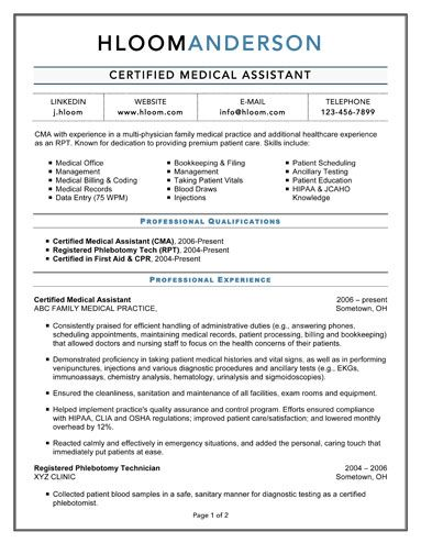 resume samples for medical assistant