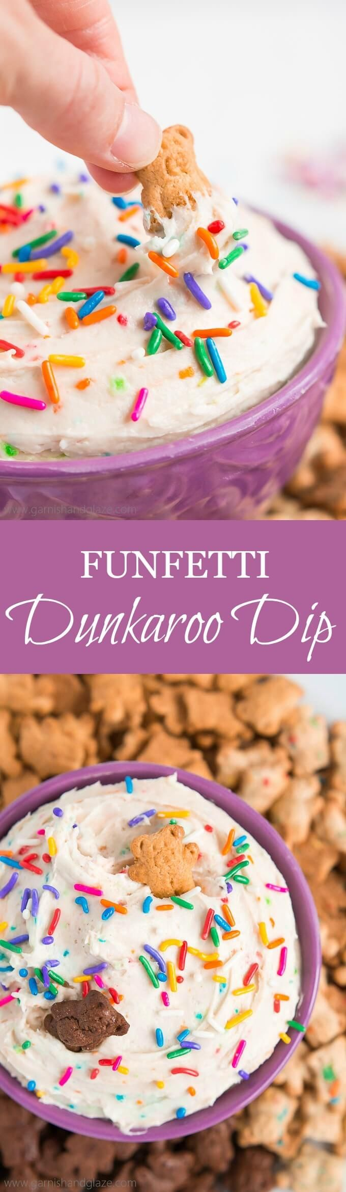 Take 3 minutes and 3 ingredients to make FUNFETTI DUNKAROO DIP and you'll be eating the most coveted snack in a kid's lunch... back in the 90's. (Summer Food Kids Lunch)