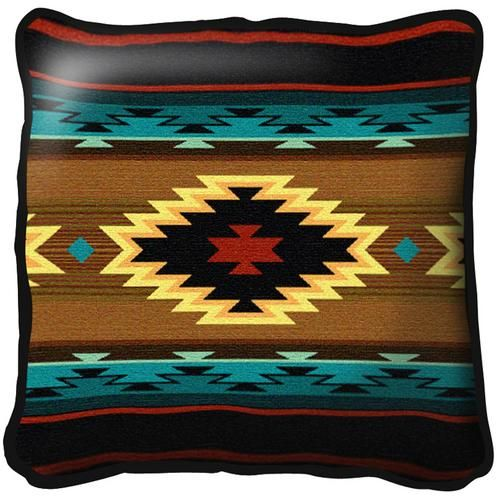 Southwest Geometric Turquoise Tapestry Pillow 6638-P