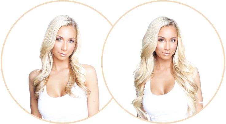 Before/After - 20 inch Halo Hair Crown - color #60 10 seconds to gorgeous hair extensions with no clip in couture style! Best price
