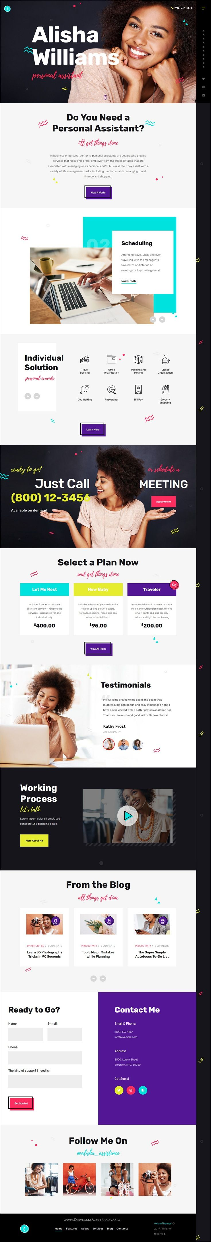 A.Williams is clean and modern design 3in1 responsive #WordPress theme for personal #assistant and #administrative services website download now..