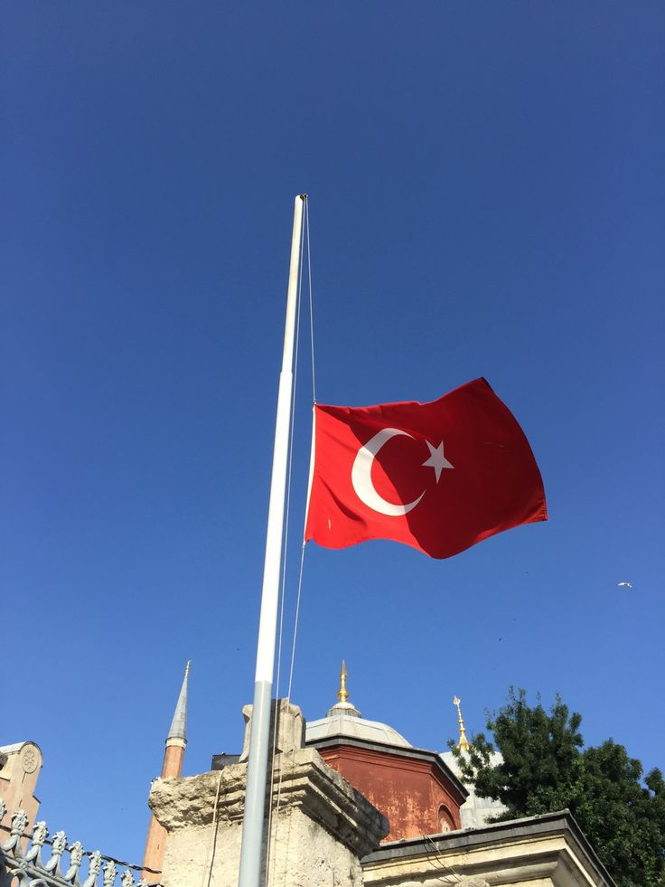 The Turkish flag stands at half-staff outside Hagia Sofia Museum in central Istanbul. (photo: Andrew Bender)