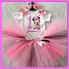 BABY GIRLS 1st Primo Compleanno MINNIE TORTA SMASH / Tutu Vestito-personalizzato