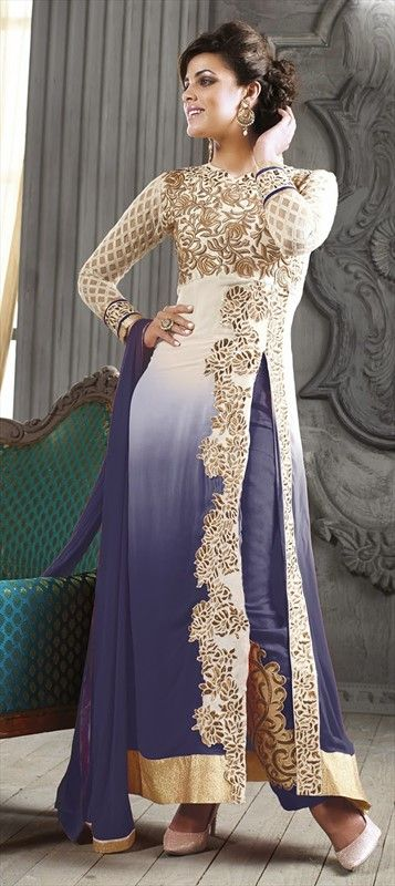 423906, Party Wear Salwar Kameez, Faux Georgette, Patch, Zari, Border, Thread, Machine Embroidery, Blue, White and Off White Color Family