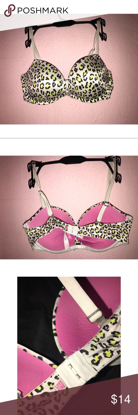 PINK VS leopard bra Pink by Victoria's Secret. Neon green and black leopard print. Size 36C. Only flaw is some pilling along the underwire on the bottom of the cups, not noticeable while wearing. PINK Victoria's Secret Intimates & Sleepwear Bras