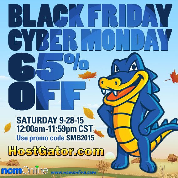 HostGator 65% off Black Friday Cyber Monday Promo Code for Saturday, 11/28/15 12:00AM-11:59PM CST only.