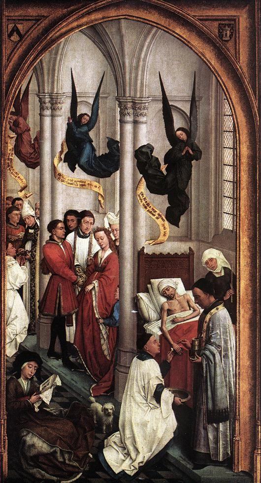 Rogier van der WEYDEN. Seven Sacraments (right wing)  1445-50  Oil on oak panel, 119 x 63 cm  Koninklijk Museum voor Schone Kunsten, Antwerp