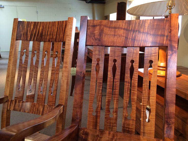 Beautiful Dark Curly Koa Rocking Chairs Made In Hawaii By