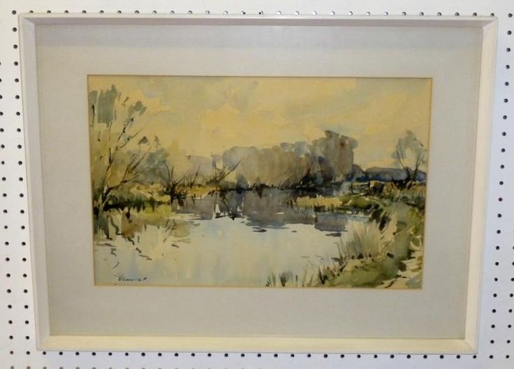 edward wesson 1910 1983 river with trees signed watercolour 32