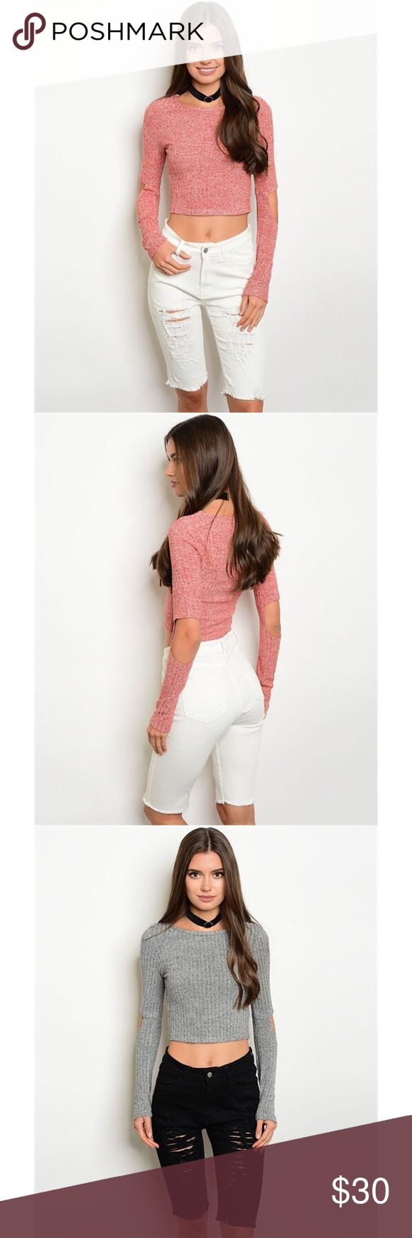 "Pink long sleeve crop top sweater Long sleeve open elbow detail marbled fabric ribbed crop top in pink. also available in heather gray (see separate listing). Fabric Content: 75% POLYESTER 20% RAYON 5% SPANDEX. measurements for a size small: L: 17"" B: 13.5"" W: 13.5"". ONLY CONSIDERING OFFERS THROUGH THE ""OFFER"" BUTTON. No trades, no off App transactions. Any questions can be addressed below. Available: 2 Small, 2 Medium, 2 Large. Tops Crop Tops"